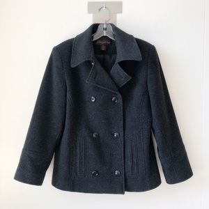 Angelina Double Breasted Wool Peacoat Heather Grey